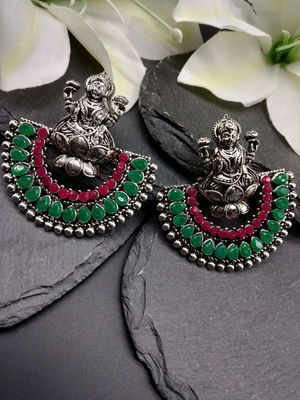 Oxidised Silver-Toned & Green Temple Chanbali Earring For Women