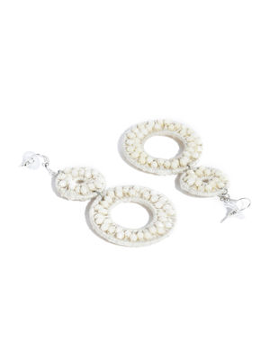 White Beaded Circular Drop Earring For Women