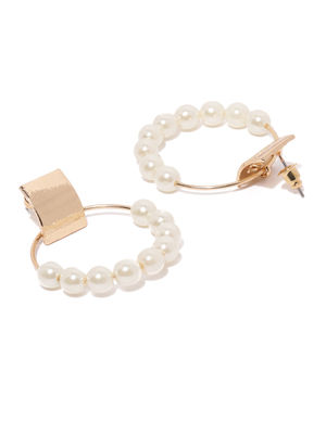 Gold Tone Pearl Circular Drop Earring For Women