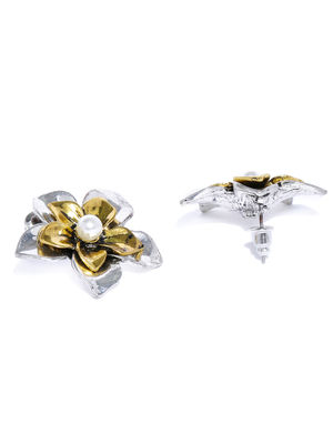 Gold & Silver Floral Stud Earring For Women