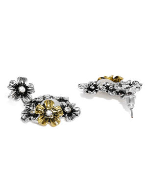 Gold & Silver Floral Drop Earring For Women