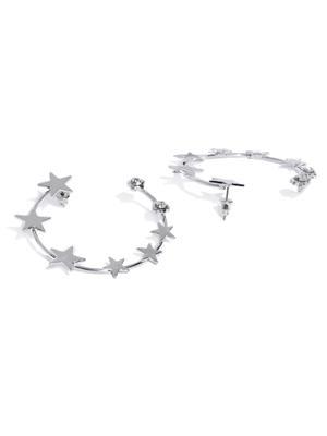 Silver Starry Night Geometric Half Hoop Earring For Women