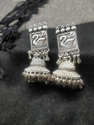 Oxidised Silver-Toned Jhumka Earring For Women
