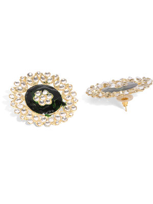 Gold Tone & Green Circular Floral Stud Earring For Women