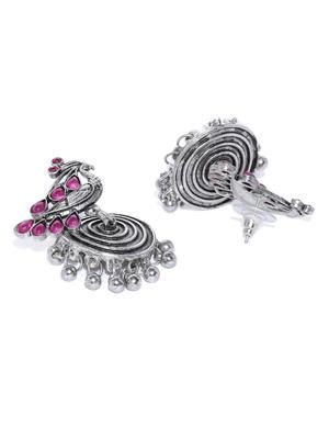 Silver-Toned & Fuchsia Peacock Shaped Oxidised Drop Earrings