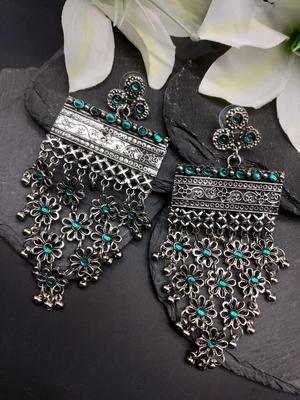 Silver-Toned & Green Geometric Oxidised Drop Earrings