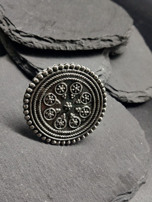 Women Oxidised Silver-Plated Ashta Handcrafted Adjustable Finger Ring
