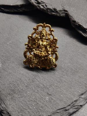 Women Gold-Toned Saraswati Adjustable Finger Ring