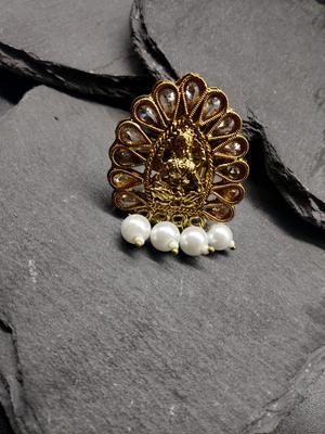 Women Gold-Plated Padma Saraswati Handcrafted Adjustable Finger Ring