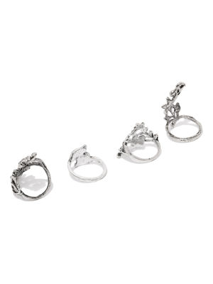 Set Of 4 Silver Tone Oxidised Rings For Women
