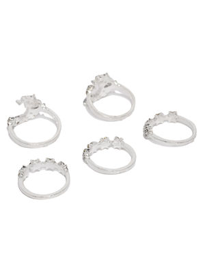 Set Of 5 Silver Tone Oxidised Rings For Women