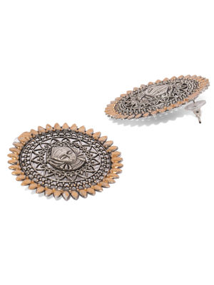 Silver-Toned & Gold-Toned Circular Oversized Studs
