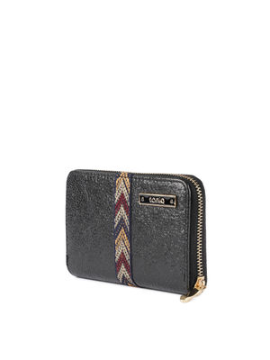 Black Embroidered Lace Wallet