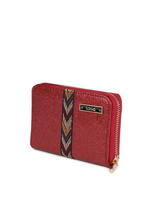 Red Embroidered Lace Wallet