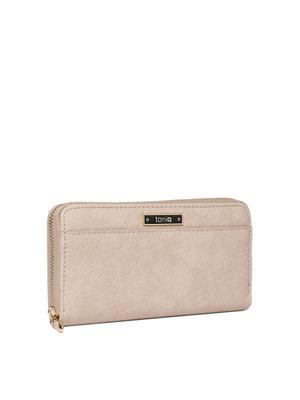 Beige Textured Everyday Basic Wallet