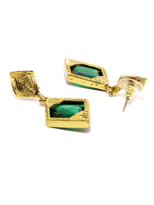 Gold-Toned & Green Handcrafted Drop Earrings