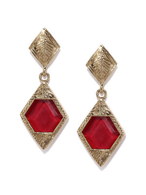 Gold Tone Red Stone Drop Earrings For Women