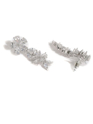 Silver -Plated Cz Floral Drop Earring For Women