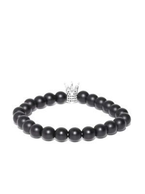 Unisex Black Crown-Shaped Beaded Bracelet For Men
