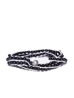 Men Black & White Beaded Wrap-Around Bracelet