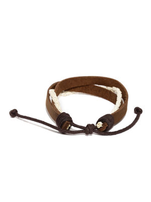 Men Brown & White Braided Bracelet