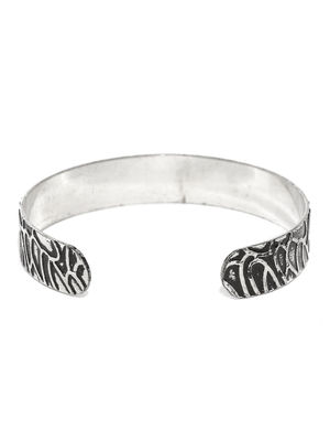 Men Silver-Toned & Black Engraved Metal Cuff Bracelet