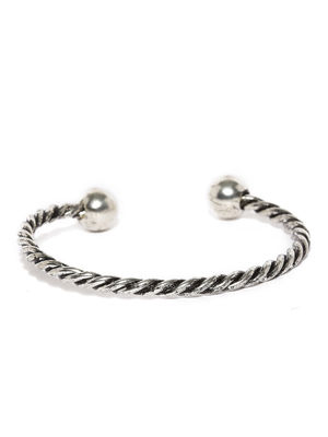 Men Silver-Toned Textured Twisted Cuff Bracelet