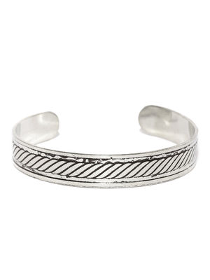 Men Silver-Toned Metal Cuff Bracelet