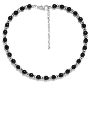 Men Black & Silver-Toned Beaded Necklace