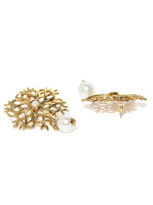 Gold-Tone White Pearl Floral Drop Earring For Women