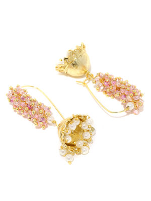 Gold-Tone Pink Beaded Jhumka Earring For Women