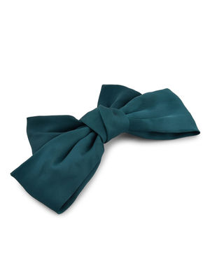 Toniq Bianca Green Satin Barette Bow Hair Clip For Women