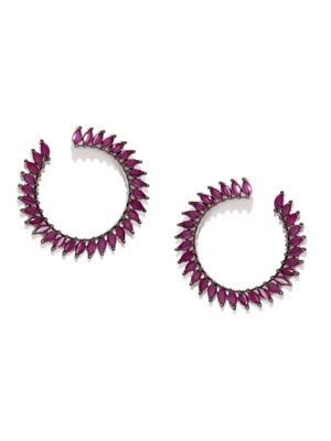 Gun Metal -Plated Pink Cz Circular Half Hoop Earring For Women