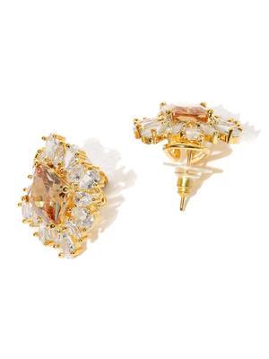 Destination Wedding Gold-Toned Orange Cz Stone-Embellished Stud Earrings