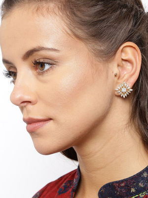 Gold White Contemporary Studs for Women.