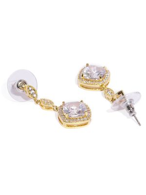 Silver Toned Cz Stone-Studded Drop Earrings