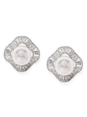 White Rhodium-Plated Cz Geometric Stud Earring For Women