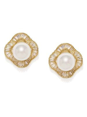 Gold-Toned & White Circular Stone-Studded Studs