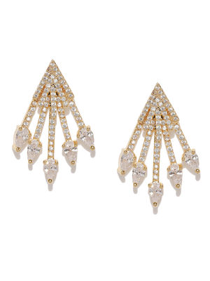 Gold-Plated Cz Geometric Drop Earring For Women