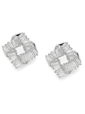 Silver-Toned & White Rhodium-Plated Geometric Studs