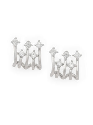 Silver-Toned Rhodium Plated Classic Studs