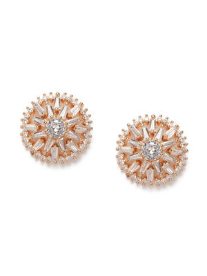 Rose Gold-Toned & White Circular Floral Studded Studs
