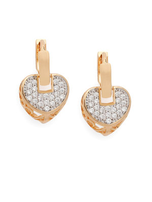 Gold-Toned & White Heart Shaped Drop Earrings
