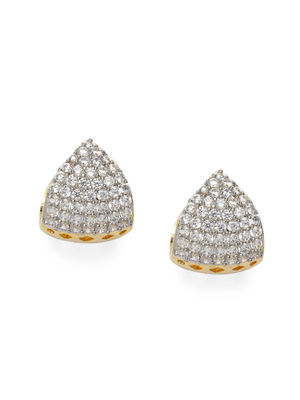 Classic Gold & CZ Diamond Stone Studded Triangular Huggies Stud Earrings for Women