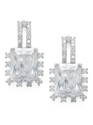 Silver-Toned Rhodium Plated Geometric Drop Earrings