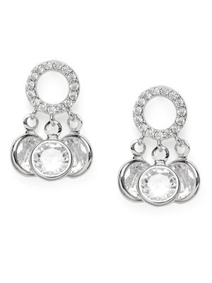 Silver-Toned & White Rhodium Plated Circular Drop Earrings