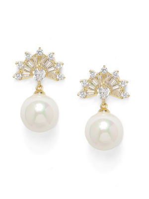 Gold-Toned & White Studded Drop Earrings