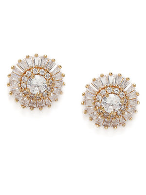 Gold-Toned Circular Crystal Studs