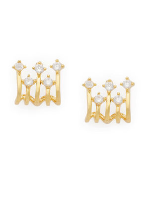 Gold-Toned Stone Studded Geometric Studs