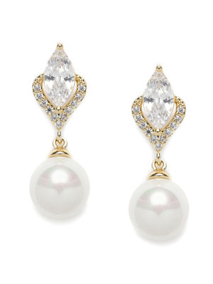 Gold-Toned & White Spherical Drop Earrings